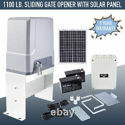 1100lb 40ft Automatic Sliding Gate Opener 150W Motor 20W Solar Panel Remotes