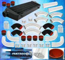 12Pc Diy Mandrel Bent Polished Piping Pipe Kit + Fmic Aluminum Intercooler Set