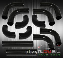 12Pcs Mandrel Bent Piping Pipe Kit Black+ Fmic Front Mount Aluminum Intercooler