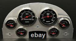 1956 Ford Car 6 Gauge Dash Panel Insert Polished Aluminum Set Mechanical Black