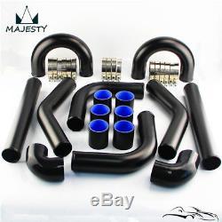 2 51mm Universal Turbo Boost Intercooler Pipe Kit 8 Pcs Aluminum Piping Black
