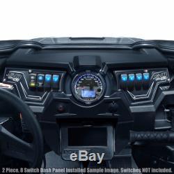 2 Piece Aluminum Dash Panel 8 Switch Black Polaris RZR XP1000 XP 900s 2016 Turbo
