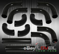 27.5 X 2.3 X 7 Aluminum Intercooler +64MM Piping Kit Black Upgrade +Couplers