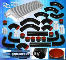 27.5 X 2.7 X 7 Aluminum Race Intercooler+ X8 2.5 Diy Piping Kit+Couplers Blk