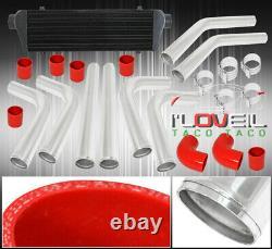 27.5 X 7 X 2.25 Aluminum Intercooler 64mm Piping Kit Black Upgrade Couplers