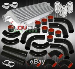 27.5X2.7X7 Aluminum Turbo Intercooler + 64mm Piping Kit Upgrade +Coupler Blk