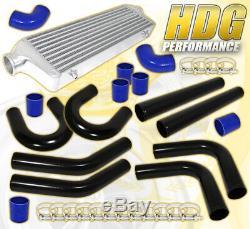 27.5X7.25X2.5 Aluminum Race Intercooler+ X8 2.5 Diy Piping Kit+Couplers Blk