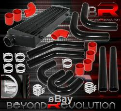27.5X7X2.25 Aluminum Intercooler +64mm Piping Kit Black Upgrade +Couplers