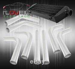 28X7 Black Aluminum Sport Intercooler + 64mm Piping Kit Upgrade + 3 Ply Hose