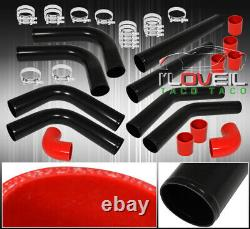 3 Turbo Charger Air Intake Induction Diy Black Aluminum Piping Pipe Kit 8 Piece