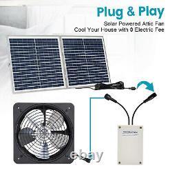 30W Folding Solar Panel 3000CFM Greenhouse Ventilation Vent Fan Battery