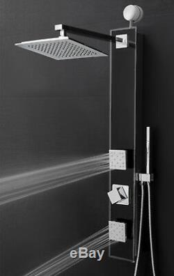 35 Black Shower Panel Tower Rainfall Style System Easy Connect Massage with Wand