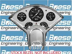 55 56 Chevy Billet Aluminum Gauge Panel Insert with Auto Meter Old Tyme Black Dash