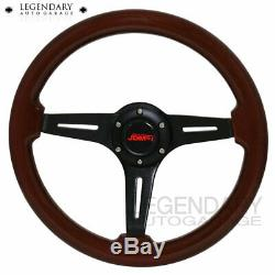 6 Bolt JDM Sport Streak Style Black Aluminum Center Dark Wood Steering Wheel