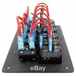 6 Gang Aluminium LED Rocker Switch Panel Marine Boat Circuit Breaker Waterproof