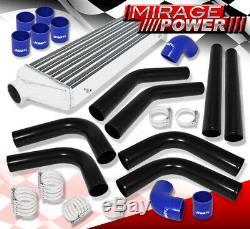 8 Pc 2.5 Aluminum Mandrel Bent Piping Kit Black + Intercooler + Blue Couplers