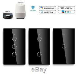 8 Pcs Black Smart WiFi Touch Light Wall Switch Panel For arellano2312
