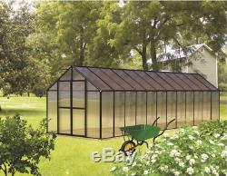 8' x 24' Black Monticello Greenhouse by Riverstone Free Shipping