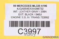 98-05 Mercedes W163 ML320 ML500 Front Hood Bonnet Panel Assembly Black OEM