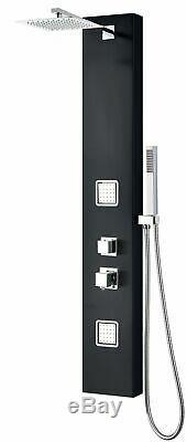 ALFI ABSP65B Black Aluminum Shower Panel with 2 Body Sprays and Rain Shower Head