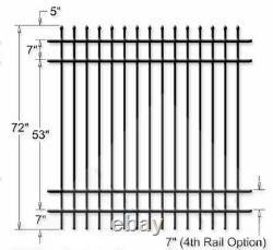 ALUMINUM FENCE COMMERCIAL SPEAR TOP 72 in T x 8ft W ASSEMBLED 20 PANELS and 23