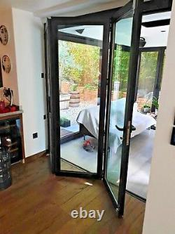 Aluminum Bi fold Doors 5 panels inc Double Glass, Customize Size and Color