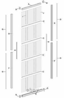 Aluminum Frame Interior Clear Tempered Glass Partition Door Panel(Disassembled)