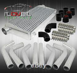 Aluminum Intercooler Piping Kit + Turbo Intercooler + Silicone Black Hoses Jdm