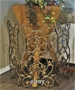 Antique 3 Panel Elaborate French Empire Black Gold Fireplace Screen Wreaths Urns