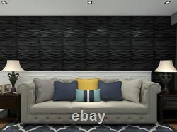Art3D Pvc Wave Board Textured 3D Wall Panels, Black, 19.7 X 19.7 (12 Pack)