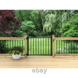 Black Aluminum Closing Deck Gate 4ft x 3ft Adjustable Home Decking Railing Panel