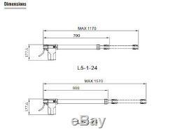 Black Swing Gate Opener kit DC24V for each leaf 500KG Gate Solar Panel Interface
