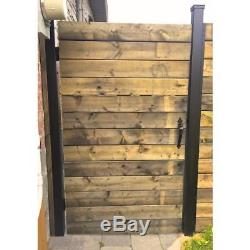 Black Wood and Aluminum 4 ft. X 6 ft. Unassembled Panel Square Styled Fence Gate