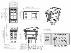 Custom Dash Panel 6pc Switch Plate Polaris RZR XP 1000 2 & 4 seat Stealth Black