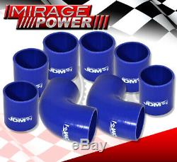 D. I. Y Aluminum Turbo Super Charge Intercooler + Piping Kit Black + Couplers Blue