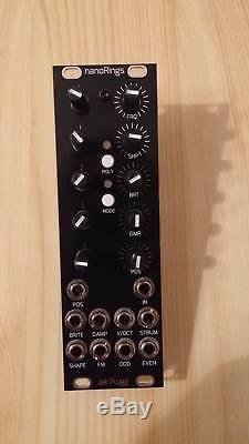 DIY Mutable nano Rings Eurorack, pro build, black aluminium panel // white knobs