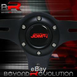 Deep Dish Steering Wheel Black Aluminum Center Purple Wood + Jdm Sport Button
