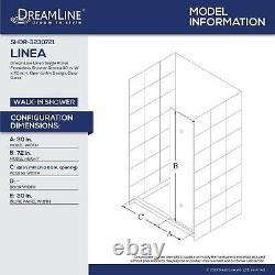 DreamLine SHDR-3230721-09 Linea Single Panel Screen 30x72 Open Entry, Black