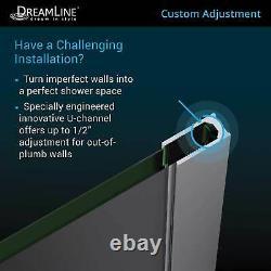 DreamLine SHDR-3234721-09 Linea Single Panel Screen 34x72 Open Entry, Black