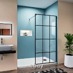 ELEGANT 34 x 72 Framed Single Panel Fixed Shower Door Screen 5/16 Glass Black