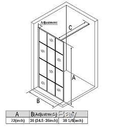 ELEGANT 36 x 72 Framed Single Panel Fixed Shower Door Screen 5/16 Glass Black