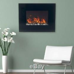 Electric Fireplace 26 in. Glass Panel Wall Mount Remote Black Pebble Fuel Effect
