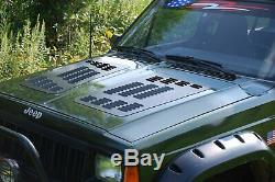 For Jeep Cherokee 84-01 Hyline Offroad Black Powder Coat Hood Louver Panel