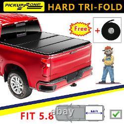 Hard Tri-Fold Tonneau Cover For 04-07 Silverado Sierra 1500 Crew Cab 5.8' Bed