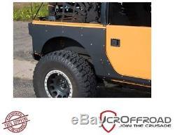 JCR Offroad Rear Aluminum QP Armor (Fender Delete) Black 07-18 Jeep JK 2 DR