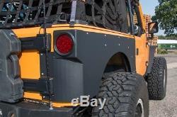 JCR Rear Aluminum QP Armor (Fender Delete) 07-18 Jeep JK 2D with 3 Stretch BLACK