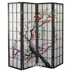 Japanese Plum Blossom 4 Panel Room Divider Home Decor 71 Tall Black Design New