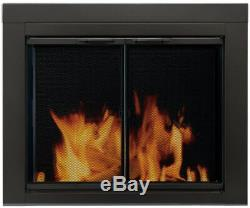 Large Fireplace Door Clear Tempered Glass Black Mesh Panel Screen Pet Baby Proof