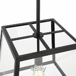 Light Society Preston Pendant Light, Matte Black Shade with Clear Glass Panels