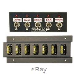 MOROSO 74133 Switch Panel Aluminum Black 5.5 Wide 2 Tall 5 Toggle Switches